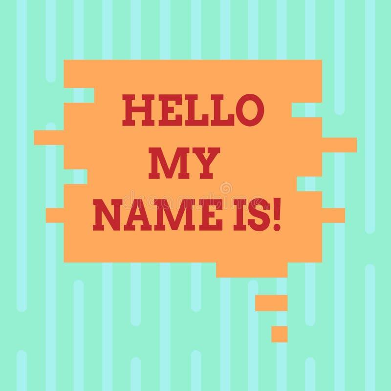 Il testo di scrittura di parola ciao il mio nome è Concetto di affari per la riunione del qualcuno nuovo colore dello spazio in b illustrazione di stock