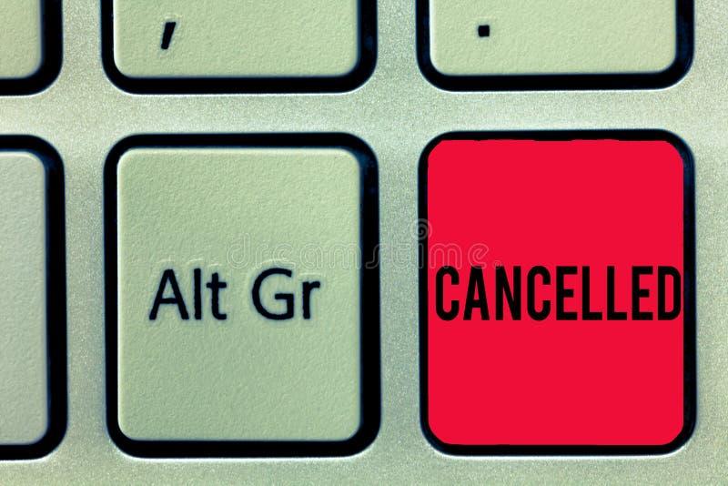 Il testo di scrittura di parola ha annullato Il concetto di affari per decidere o annunciare quell'evento previsto non avrà luogo fotografie stock