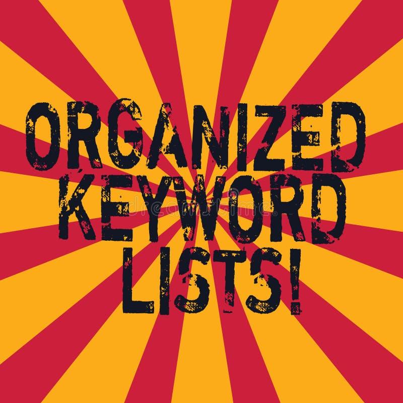 Il testo di scrittura di parola ha organizzato le liste di parola chiave Concetto di affari per la presa della lista delle parole illustrazione di stock