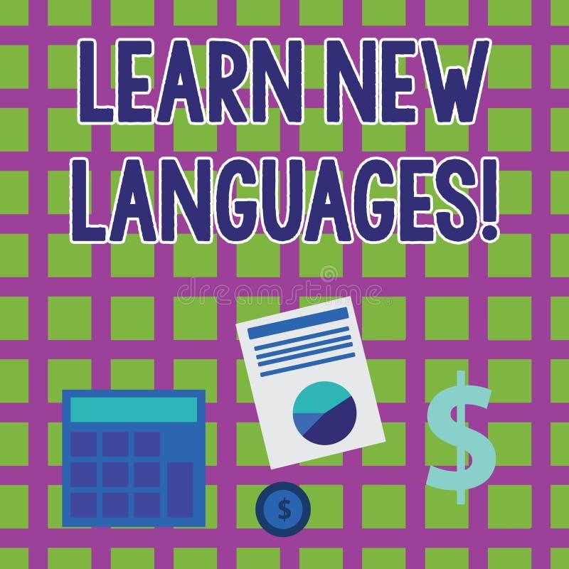 Il testo di scrittura di parola impara le nuove lingue Concetto di affari affinchè capacità di sviluppo comunichino nella computa royalty illustrazione gratis