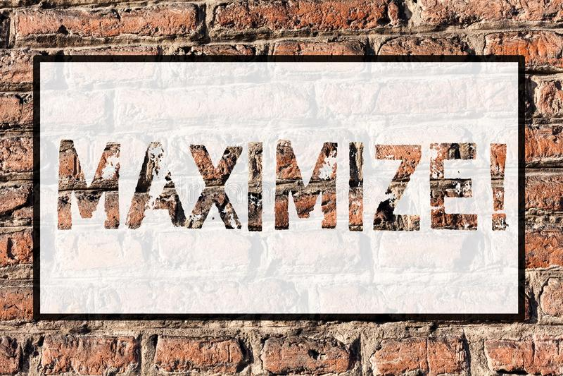 Il testo di scrittura di parola massimizza Il concetto di affari per aumento al più grande importo possibile o il grado allarga i royalty illustrazione gratis