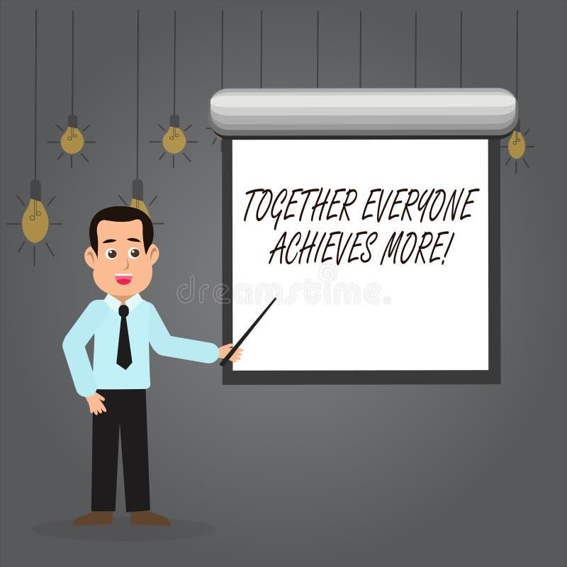 Il testo di scrittura di parola ognuno raggiunge insieme più Il concetto di affari per i membri crea il forte impegno di senso di illustrazione vettoriale