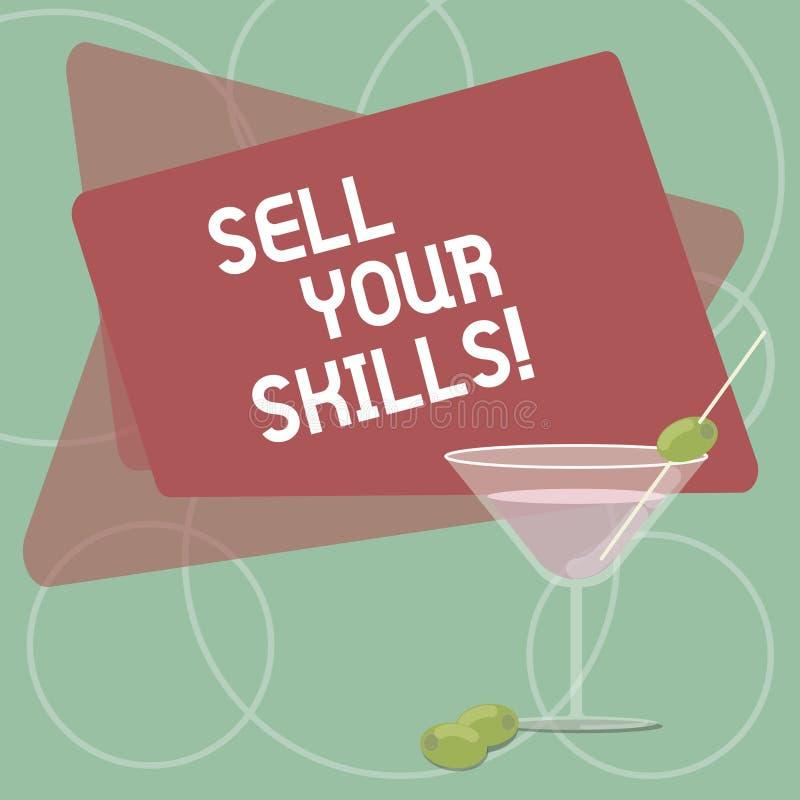 Il testo di scrittura di parola vende le vostre abilità Il concetto di affari per fa la vostra capacità di fare bene qualcosa o i illustrazione di stock