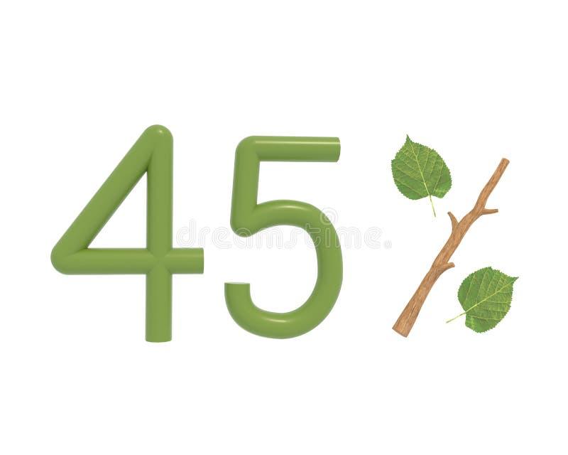 il testo di verde dell'illustrazione 3d ha progettato con le foglie e un bastone illustrazione vettoriale
