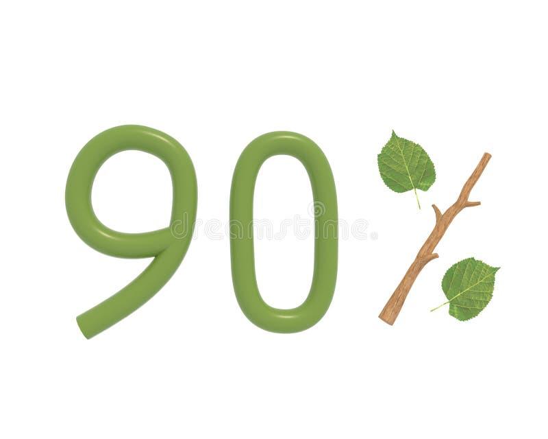 il testo di verde dell'illustrazione 3d ha progettato con le foglie e un'icona delle percentuali del ramo del bastone isolata su  illustrazione di stock