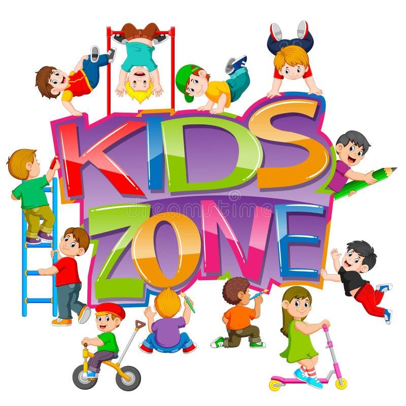 Il testo di zona dei bambini con i bambini che lo bighellonano illustrazione di stock