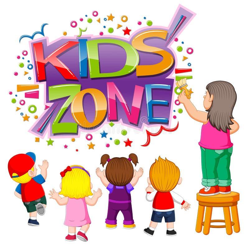 Il testo di zona dei bambini con i bambini che lo creano royalty illustrazione gratis