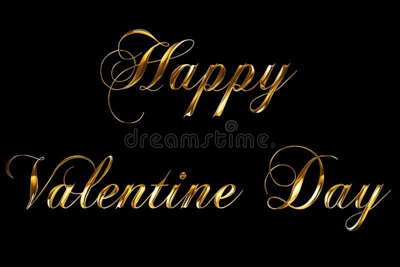 Il testo felice metallico d'annata di parola di giorno di S. Valentino dell'oro giallo con il riflesso leggero su fondo nero con  royalty illustrazione gratis