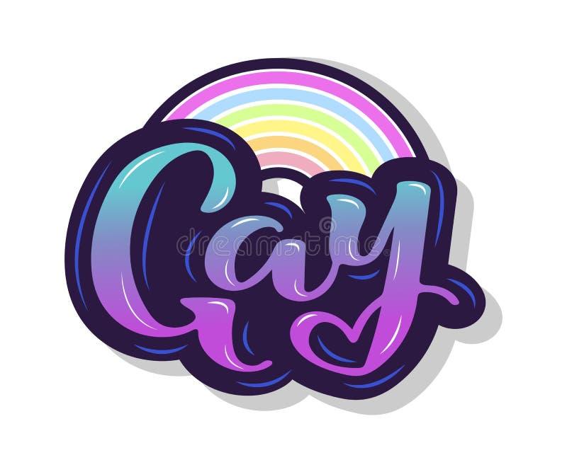 Il testo gay con l'arcobaleno è su fondo illustrazione di stock