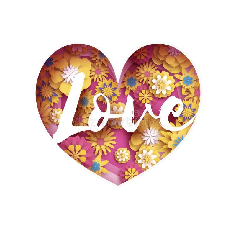 Il testo giallo rosa di amore nel taglio della carta ha messo a strati il cuore Cartolina d'auguri felice di giorno di biglietti  illustrazione vettoriale
