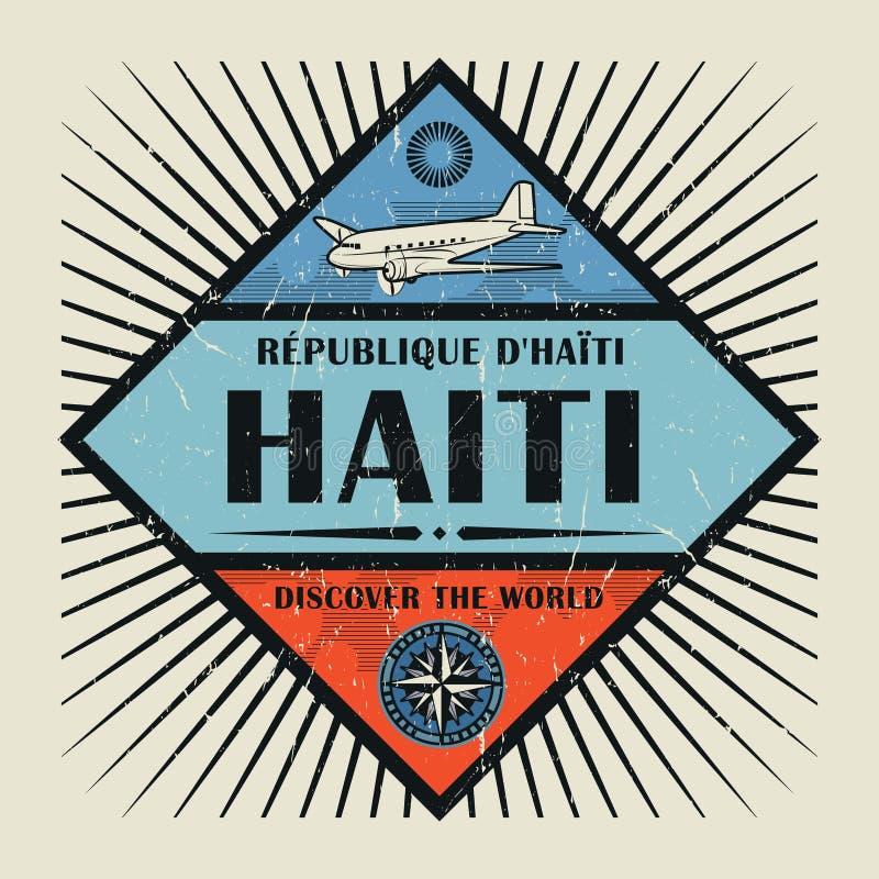 Il testo Haiti dell'emblema dell'annata o del bollo, scopre il mondo illustrazione vettoriale
