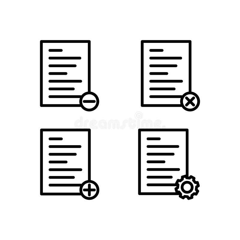 il testo, lista, rimuove, cancella, più, le regolazioni firma le icone Elemento delle icone del bottone del profilo Linea sottile illustrazione di stock