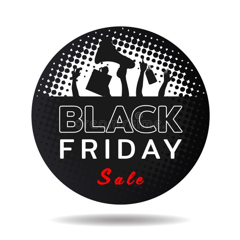 Il testo nero di vendita di venerdì nell'insegna nera del cerchio ed e le mani tengono il sacchetto della spesa, l'etichetta, pro illustrazione vettoriale