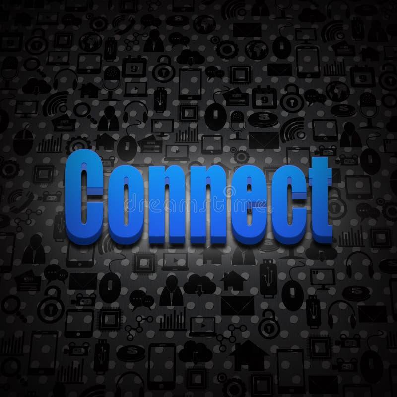 Il testo sociale di concetto di media si collega su ambiente sociale illustrazione di stock