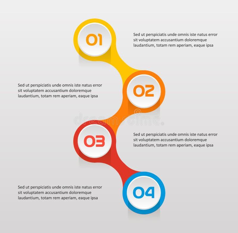 Il testo verticale fa un passo infographics - può illustrare una strategia, flusso di lavoro o il lavoro di gruppo, vector il col royalty illustrazione gratis