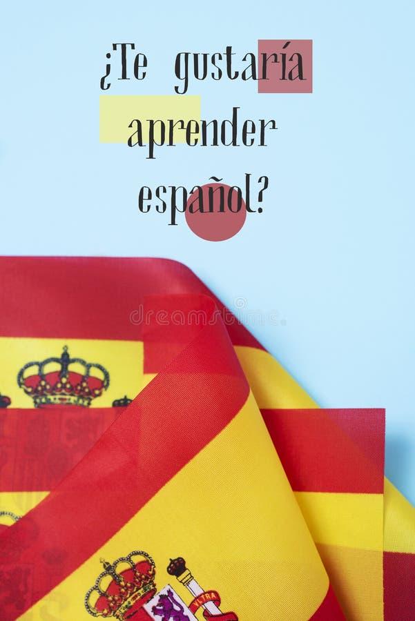 Il testo voi gradisce imparare lo Spagnolo? nello Spagnolo immagine stock libera da diritti