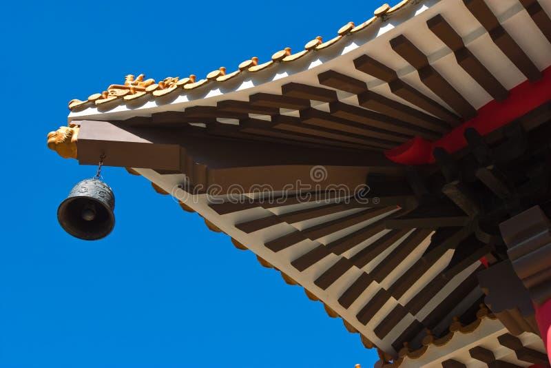 Il tetto del palazzo di vecchio stile con un segnalatore acustico del metallo fotografia stock libera da diritti