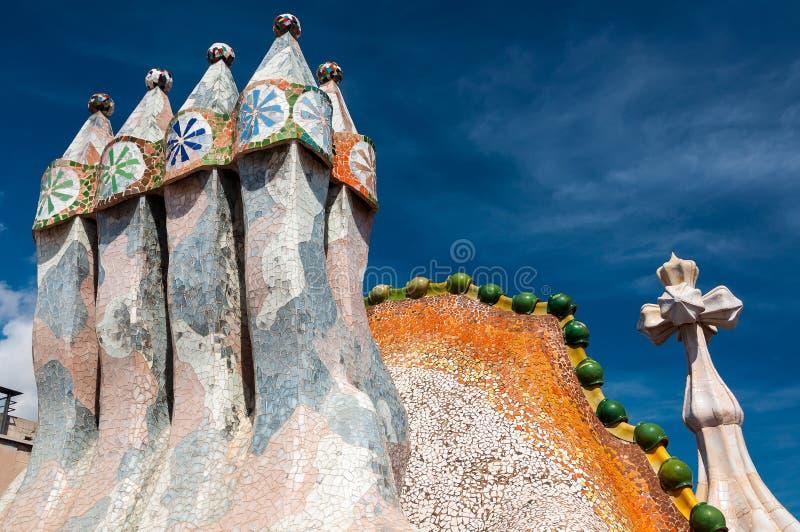 Il tetto della casa Batllo della casa ha progettato da Antoni Gaudi immagine stock