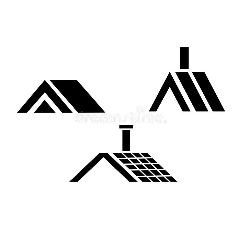 Il tetto ha basato il logos elegante illustrazione di stock