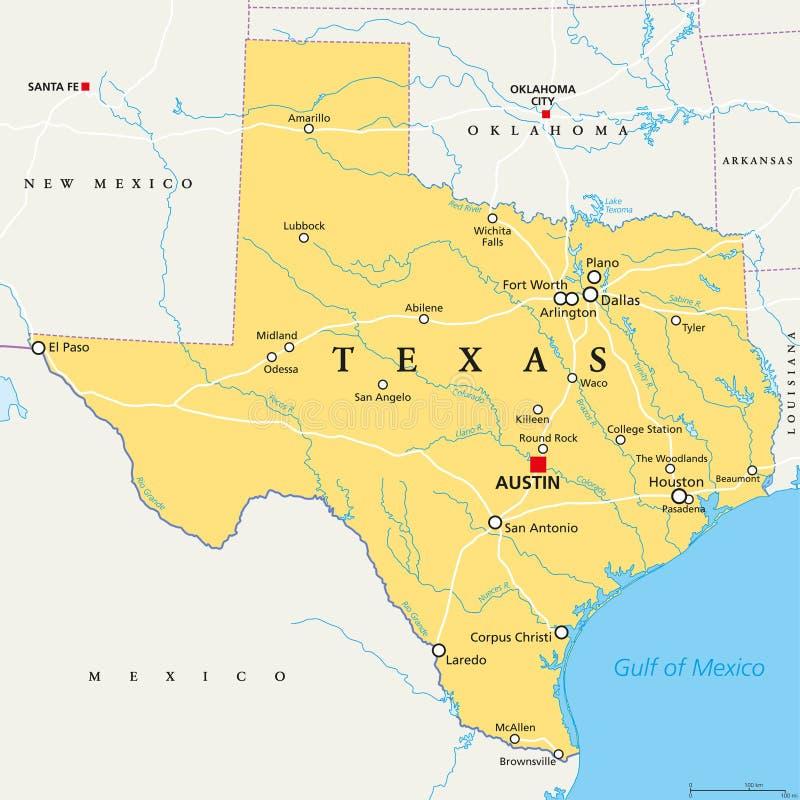 Il Texas, Stati Uniti, mappa politica illustrazione di stock