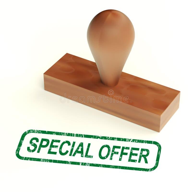 Il timbro di gomma di offerta speciale mostra i prodotti di affare di sconto illustrazione di stock