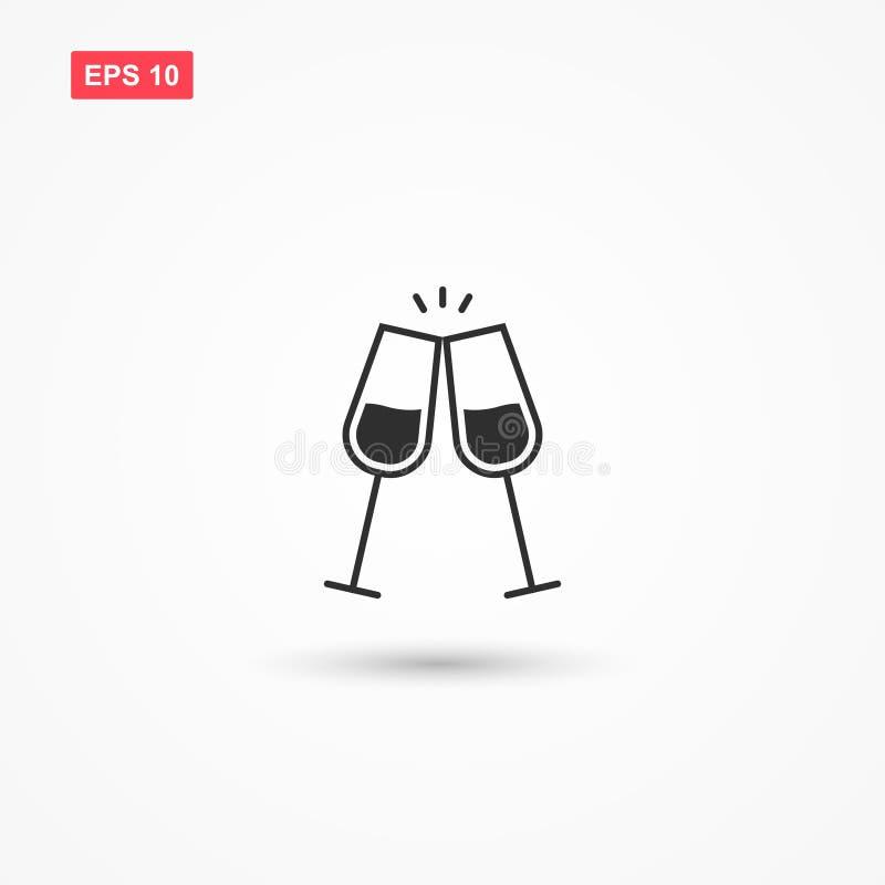 Il tintinnio dell'icona di vettore del vino di vetro ha isolato 2 illustrazione vettoriale