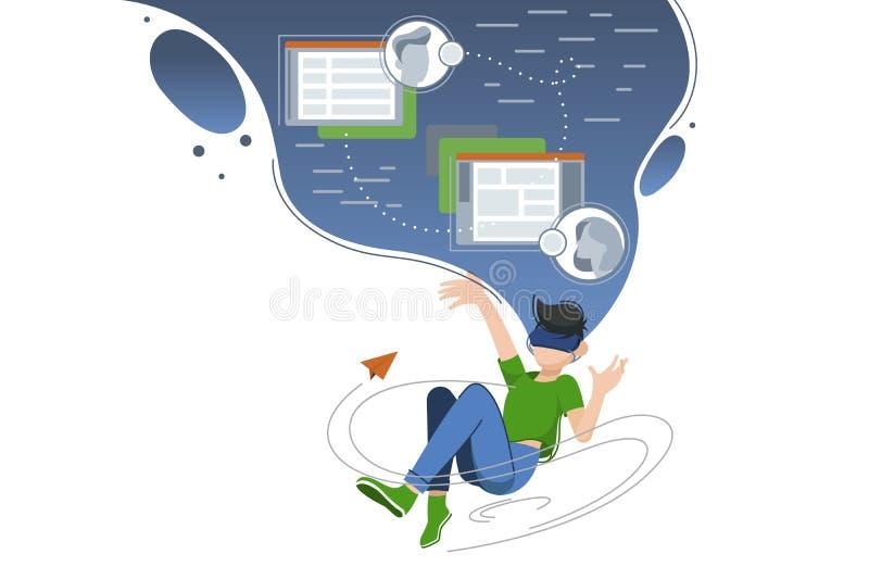Il tipo si libra in nuvola del mondo virtuale illustrazione vettoriale