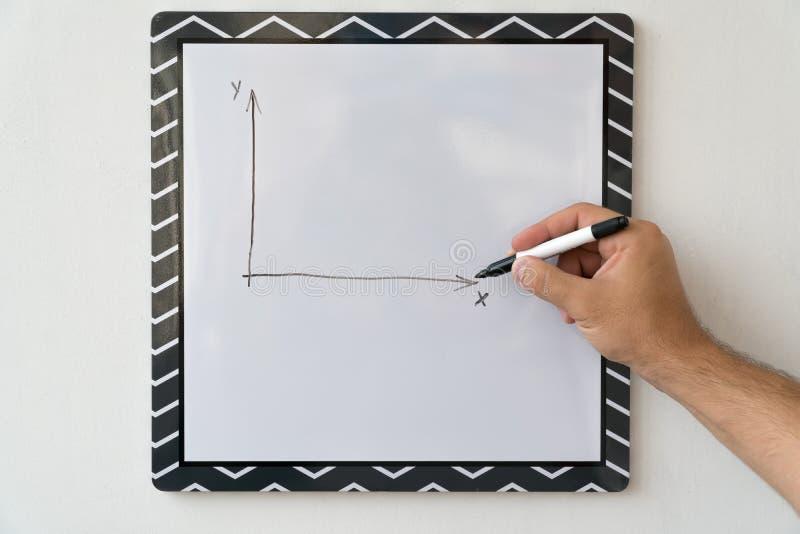 Il tipo sta disegnando un programma su un bordo bianco Mano maschio con un indicatore su un fondo del bordo bianco fotografia stock
