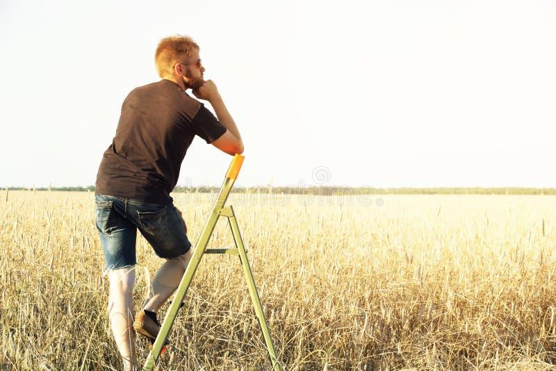 Il tipo sta stando sulla scala a libro in mezzo al campo fotografie stock