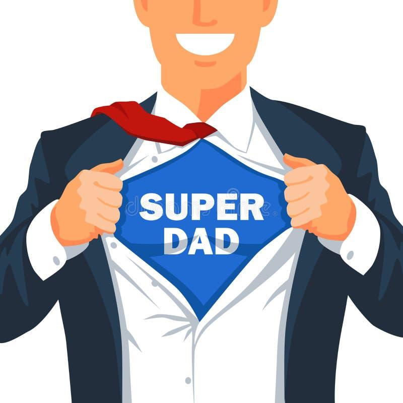 Il tipo strappa la sua camicia per mostrare all'iscrizione il papà eccellente fotografie stock libere da diritti