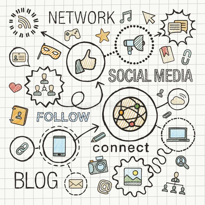 Il tiraggio sociale della mano di media ha integrato le icone di colore messe illustrazione vettoriale