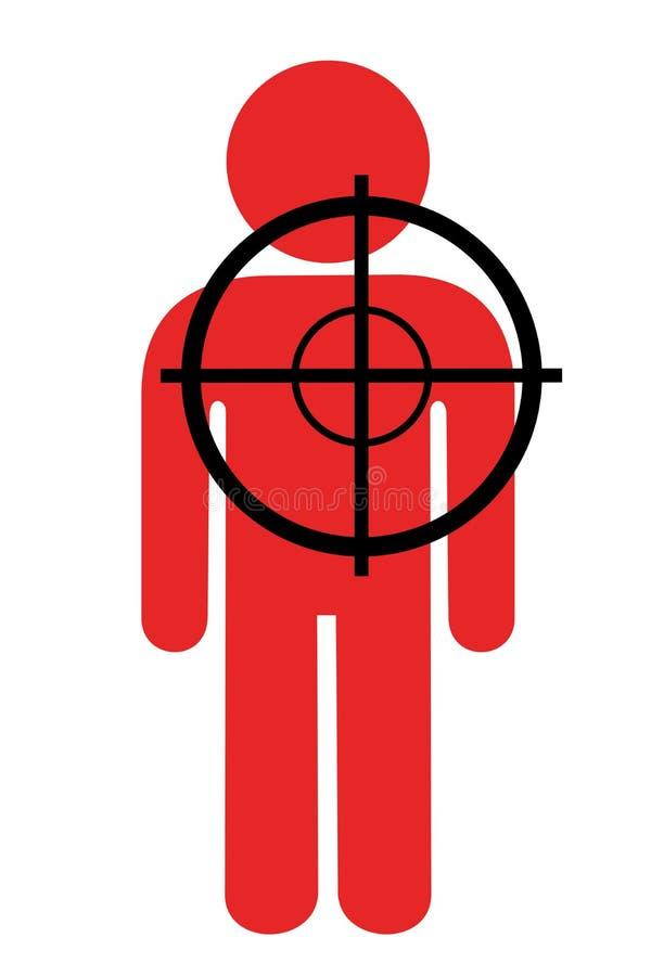 Il tiratore franco sta sparando sull'uomo rosso illustrazione di stock