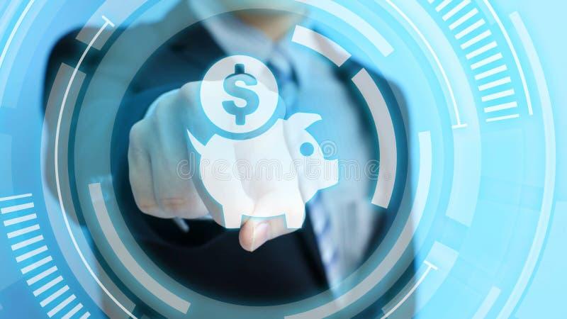 Il tocco conserva l'icona dei soldi fotografia stock libera da diritti