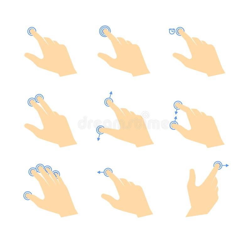 Il tocco gestures le icone illustrazione di stock