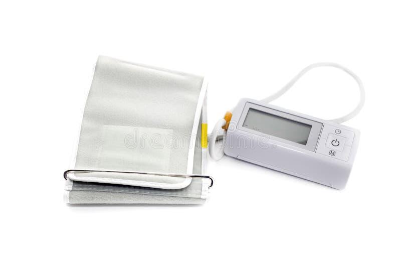 Il tonometer della famiglia con il primo piano del monitor immagini stock libere da diritti