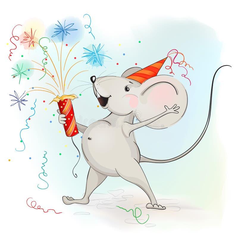 Il topo felice del fumetto fa i fuochi d'artificio illustrazione vettoriale