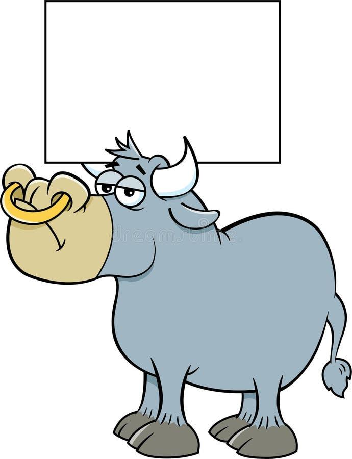 Il toro del fumetto che tiene un segno ? corni royalty illustrazione gratis