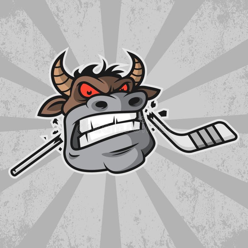 Il toro morde il bastone di hockey illustrazione di stock
