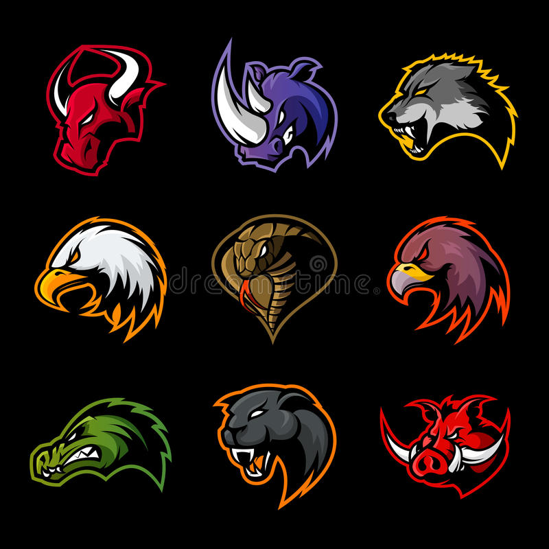 Il toro, rinoceronte, lupo, aquila, cobra, alligatore, pantera, testa del verro ha isolato il concetto di logo di vettore illustrazione vettoriale