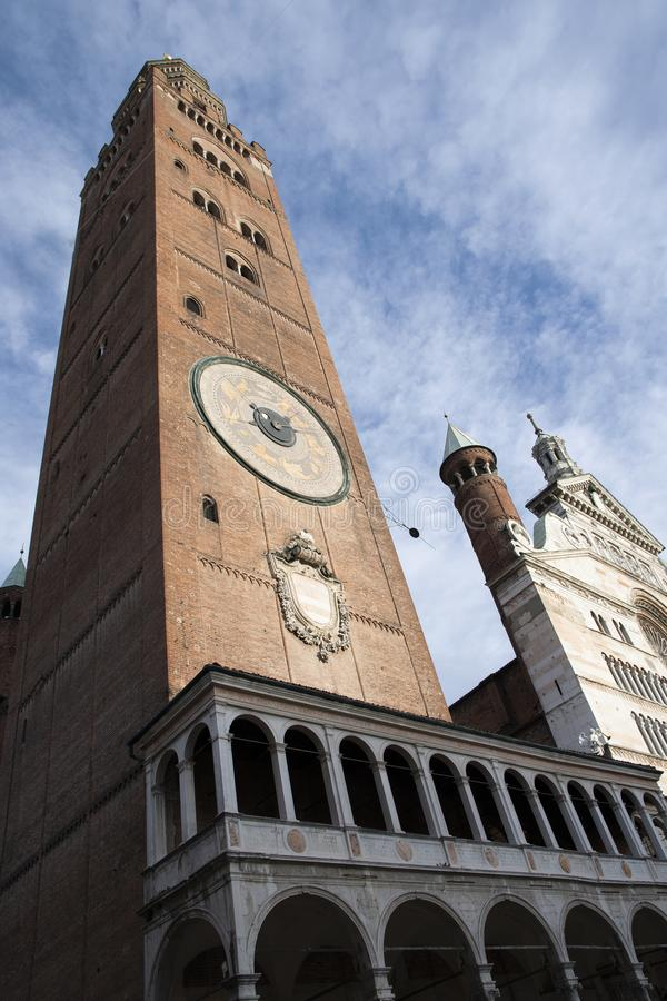 Il Torrazzo di Cremona, located next to the cathedral of Cremona royalty free stock photography