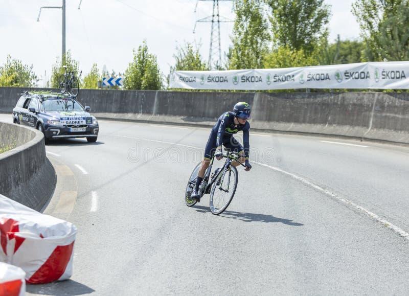 Il Tour de France 2014 di John Gadret- del ciclista fotografie stock libere da diritti