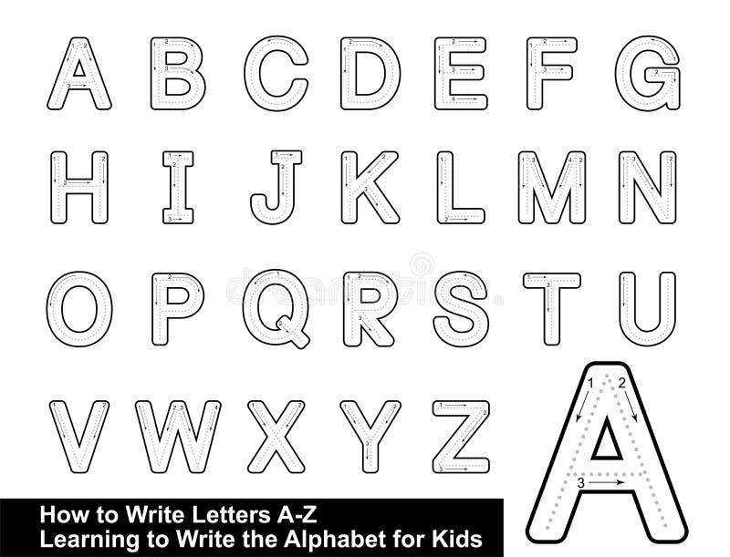 IL TRACCIATO dell'ALFABETO SEGNA IL TRACCIATO con lettere GRADUALE della LETTERA scrive l'alfabeto della lettera che scrive la le illustrazione vettoriale