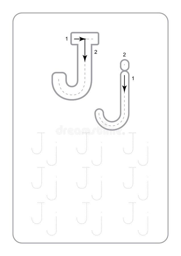 Il tracciato di asilo segna i fogli di lavoro con lettere di rintracciamento monocromatici delle lettere dei fogli di lavoro sul  illustrazione di stock
