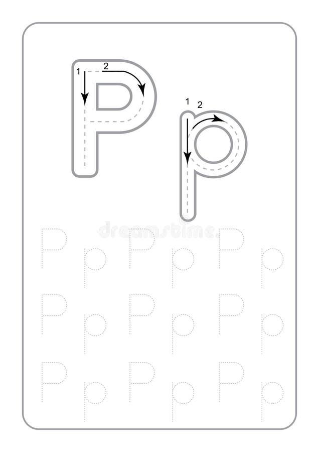 Il tracciato di asilo segna i fogli di lavoro con lettere di rintracciamento monocromatici delle lettere dei fogli di lavoro sul  illustrazione vettoriale