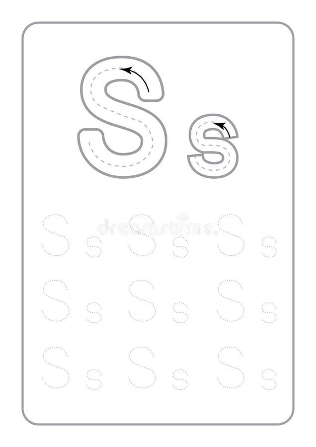 Il tracciato di asilo segna i fogli di lavoro con lettere di rintracciamento monocromatici delle lettere dei fogli di lavoro sul  royalty illustrazione gratis