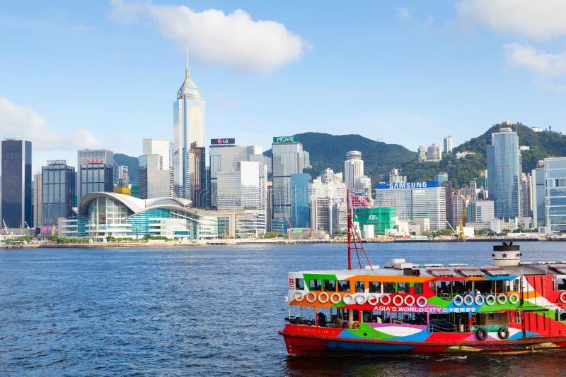 Il traghetto iconico della stella attraversa Victoria Harbor in Hong Kong fotografia stock libera da diritti