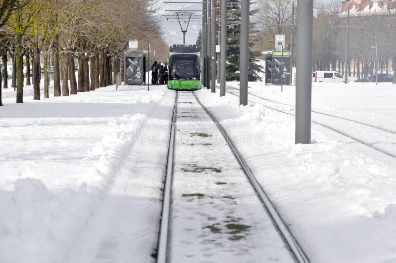 Il tram moderno di Vitoria fotografie stock libere da diritti