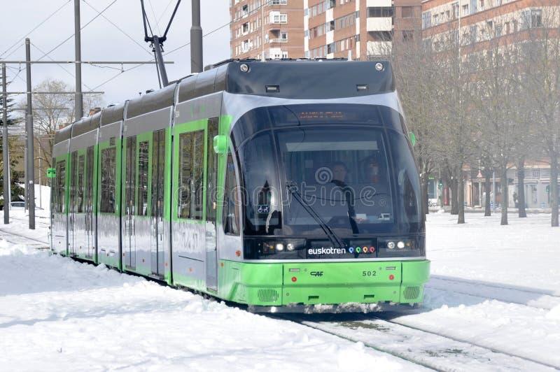 Il tram moderno di Vitoria fotografia stock