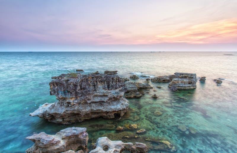 Il tramonto colora l'isola di Phu Quoc fotografia stock libera da diritti