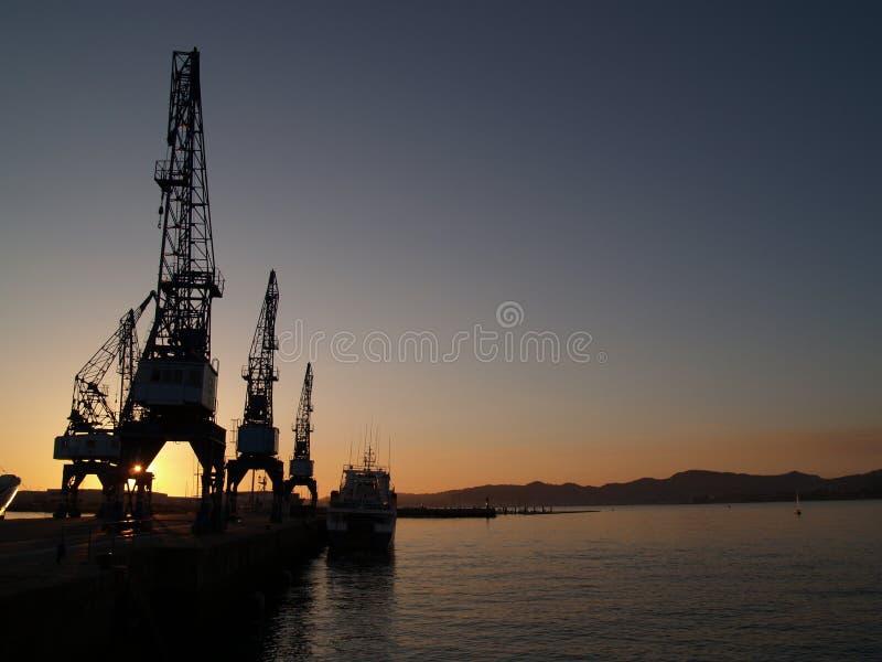 Il tramonto cranes vi immagine stock